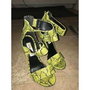 Neon Snakeskin Heels